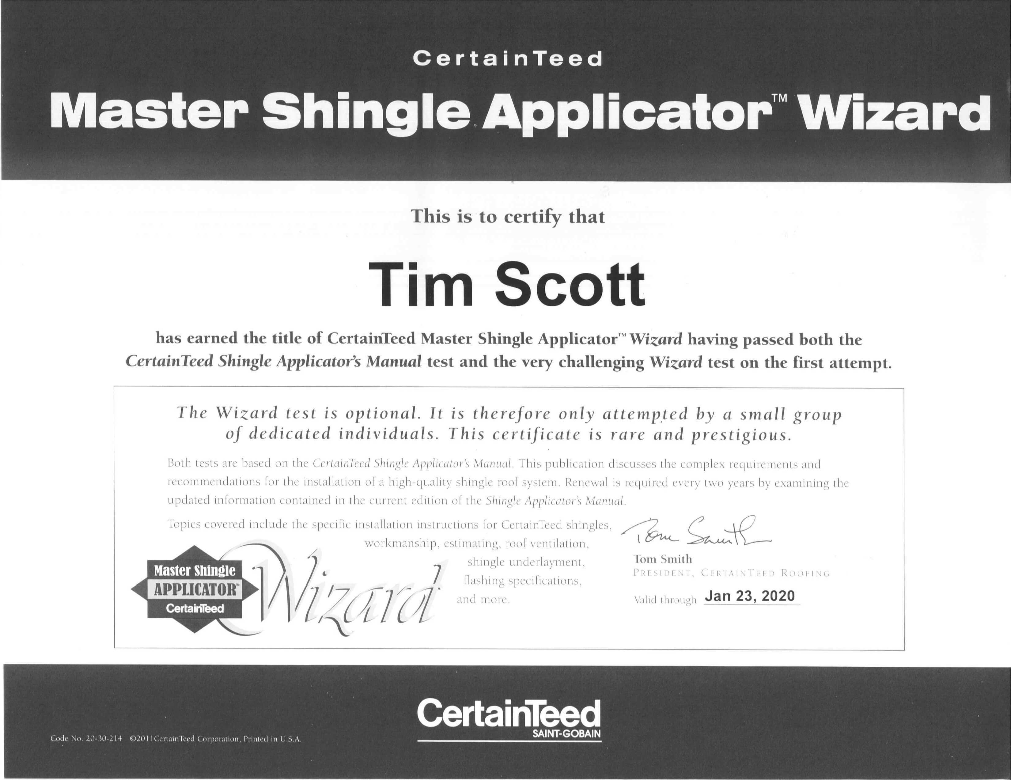 CertainTeed Master Shingle Applicator Wizard Certification